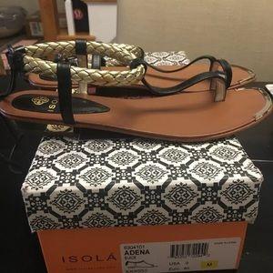 Isola Adena Black/Gold gladiator sandals size 9